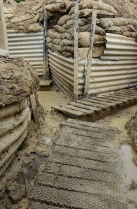 Moving along the trench system, over muddy and slippery duck boards