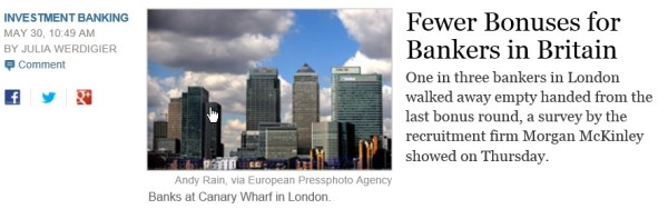 Britain's bankers get  fewer bonuses