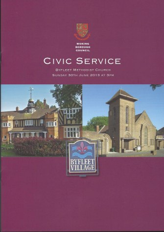 The cover of the order of service of Woking BC Civic Service with Byfleet Village Hall and Methodist Church