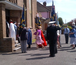 The Mayor of Woking at the head of the procession following the clergy.
