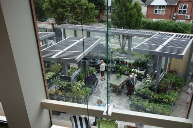 Looking down onto the outdoor garden area