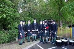 Gordon's School Pipe Band assemble prior to their display