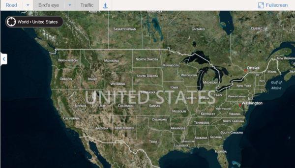 USA in Bing satellite map