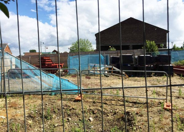 Building materials arrive at Tesco Express site