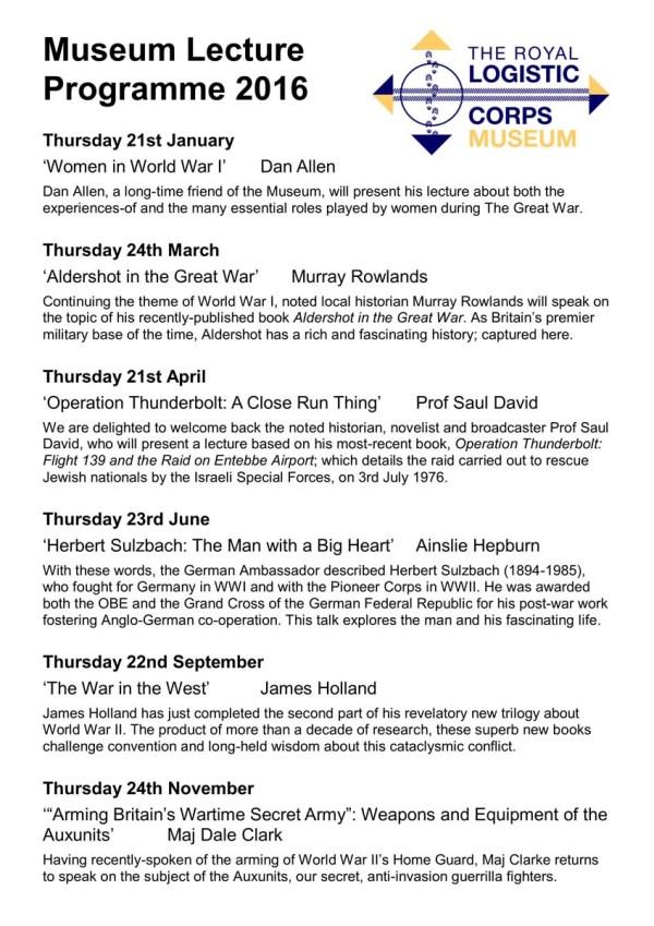 RLCM 2016 Lecture Programme List