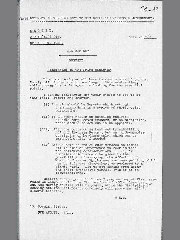 Churchill's request for brevity