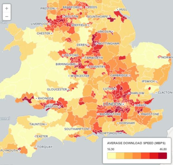 Broadband map of UK 2016