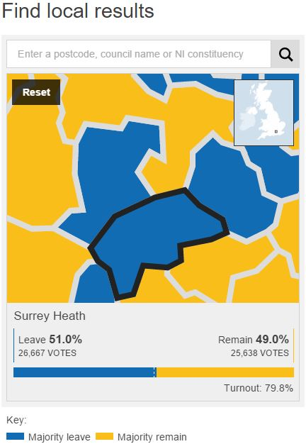 Surrey Heath results on the BBC