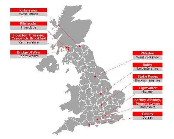 Virgin Media top 10 areas