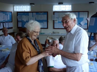 17-Trevor Wilcox accepts the Challenge Cup from Sheila Mollinson