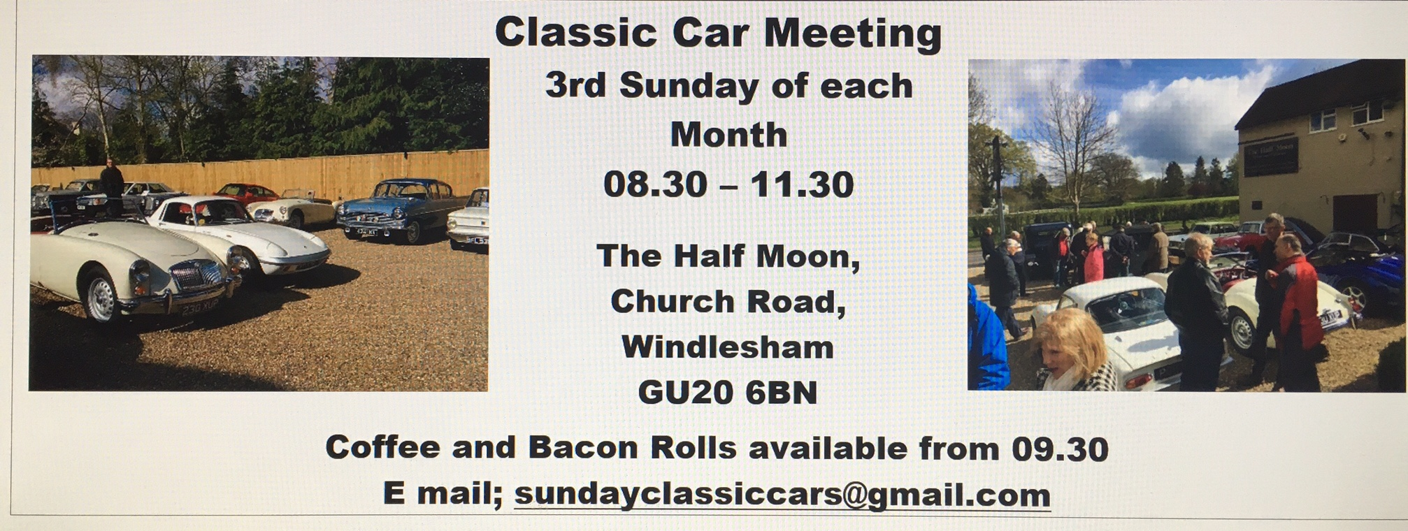 Regular Classic Car Meet At The Half Moon Pub In Windlesham Lightwater - Classic car meets near me