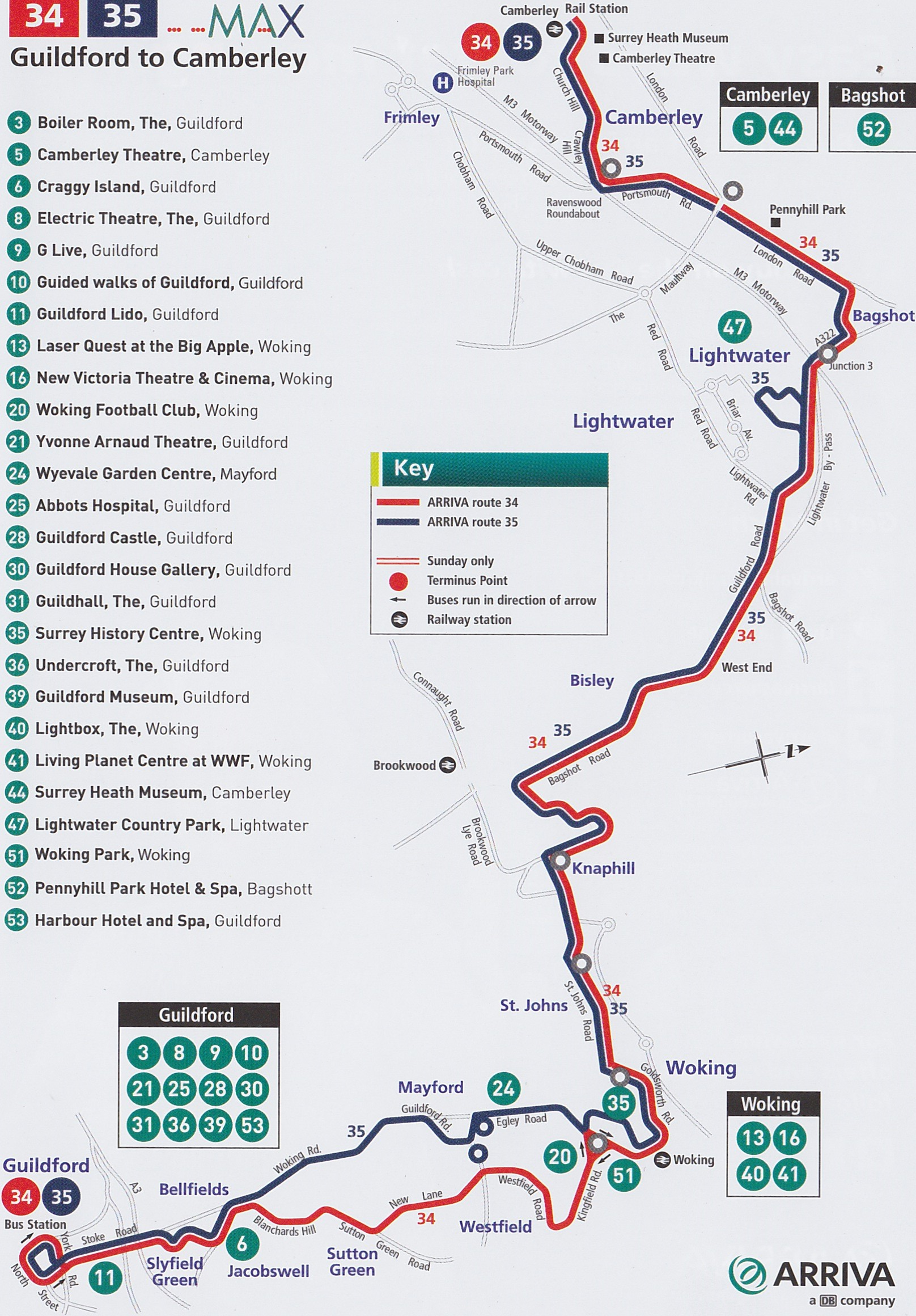 The 34 and 35 bus routes from Camberley to Guildford thru Lightwater