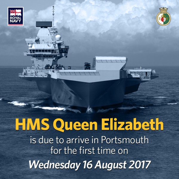 My report and video of HMS Queen Elizabeth arriving at Portsmouth will be posted here later today