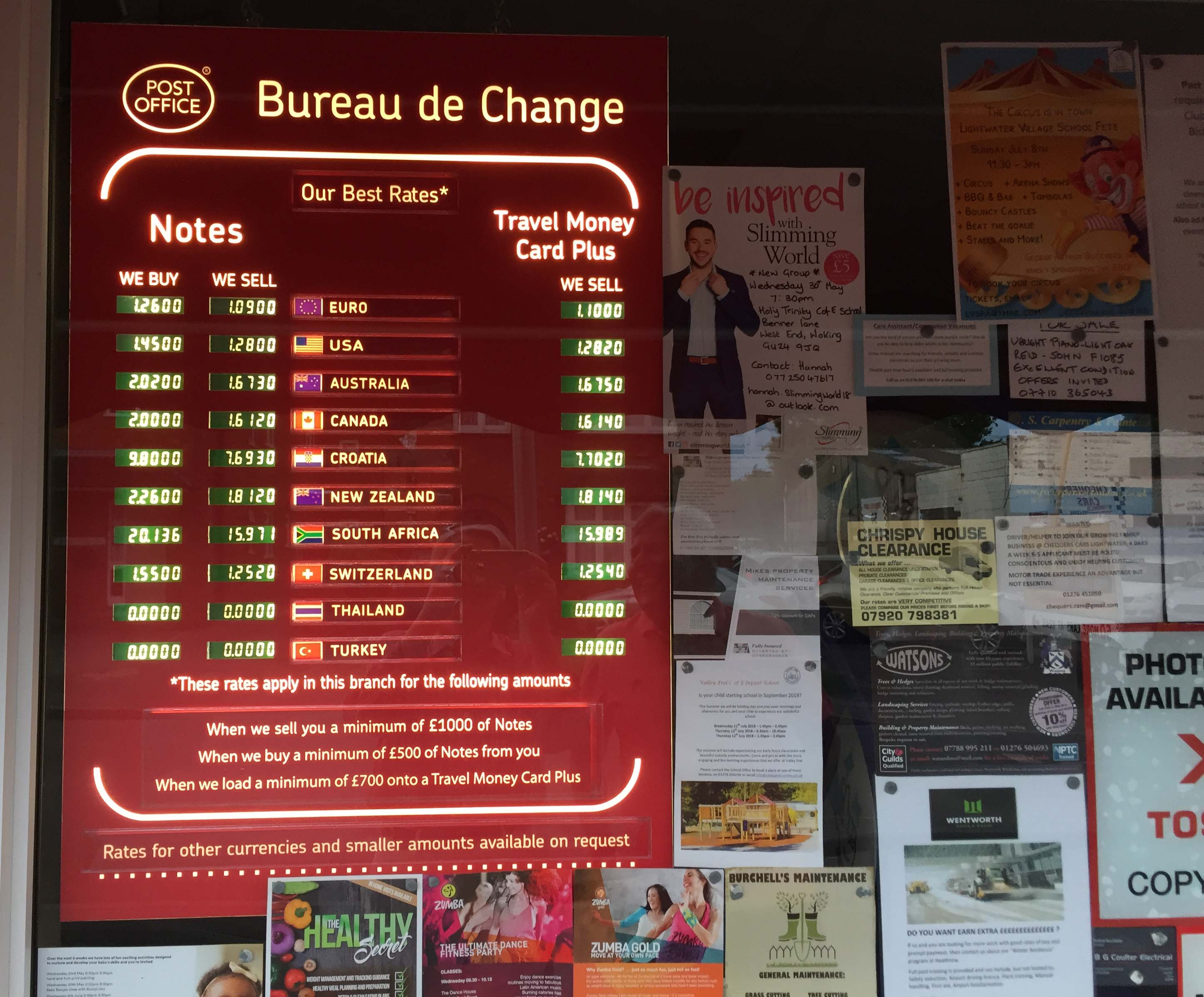 Lightwater post office lightwater - Post office bureau de change exchange rates ...