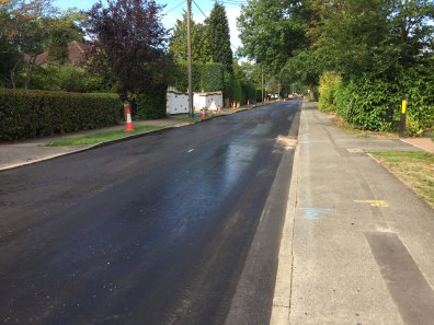 1-Ambleside Road prepared for the final layer of tarmac