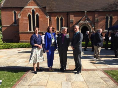 1_Mrs S Meikle - Bursar, Rev S Newton - School Chaplain, Rt Rev A Watson - Bishop of Guildford, Mr A Moss - School Head
