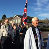 5-Honorary Curate Derek Browning in the procession back to the church 2014
