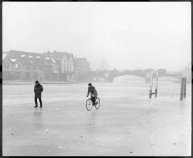 The River Thames frozen over David Joel riding on the frozen river Thames at Windsor Bridge. The River was frozen from bank to bank for a considerable distance Centenary City supplement - part 1, London the great survivor